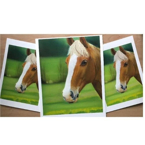 Sunny Chestnut Horse Pastel Painting Limited Edition Print