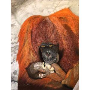 Motherly Love – Bornean Orangutan Original Pastel Painting